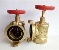 Клапан пожарный латунный КПАЛ 50  90 град. с соединительной головкой 50мм Ру 1,6 МПа