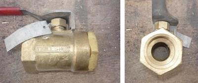 Кран шаровой муфтовый Ду32 Ру32 рычаг (корпус-латунь, шар- латунь) - фото 6282