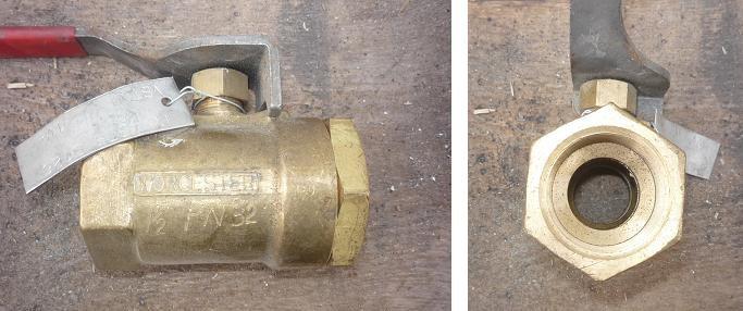 Кран шаровой муфтовый Ду25 Ру32 рычаг (корпус-латунь, шар- латунь) L=90 мм - фото 6283