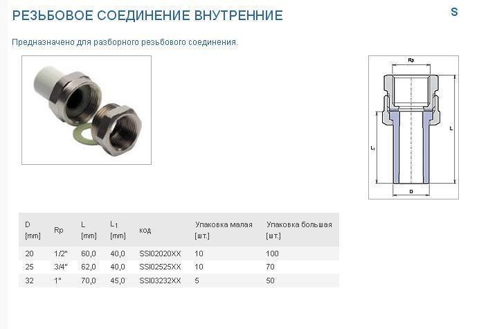 PPR Разборное соед. 20х1/2  В.Р. ЕК (серый) - фото 6518