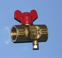 Кран шаровый с ручкой  бабочка - G 1/2 / G1/2 - 1,6 МПА Т=140С (со спуском) Трубная резьба