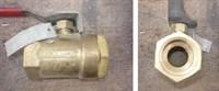 Кран шаровой муфтовый Ду32 Ру32 рычаг (корпус-латунь, шар- латунь)